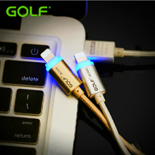 Buy 100% Original GOLF Smart LED Light Metal Braided iOS10 Charger Wire iPhone 5/5S 6/6S iPad 4 USB Data Sync Charge Cable 100cm for $3.03 in AliExpress store