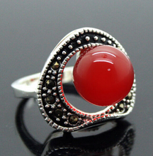 DYY 1021+++Pretty 6mm Red Agate Beads Inlay Marcasite 925 Sterling Silver Ring>18K gold plated watch wholesale Quartz stone CZ c(China (Mainland))