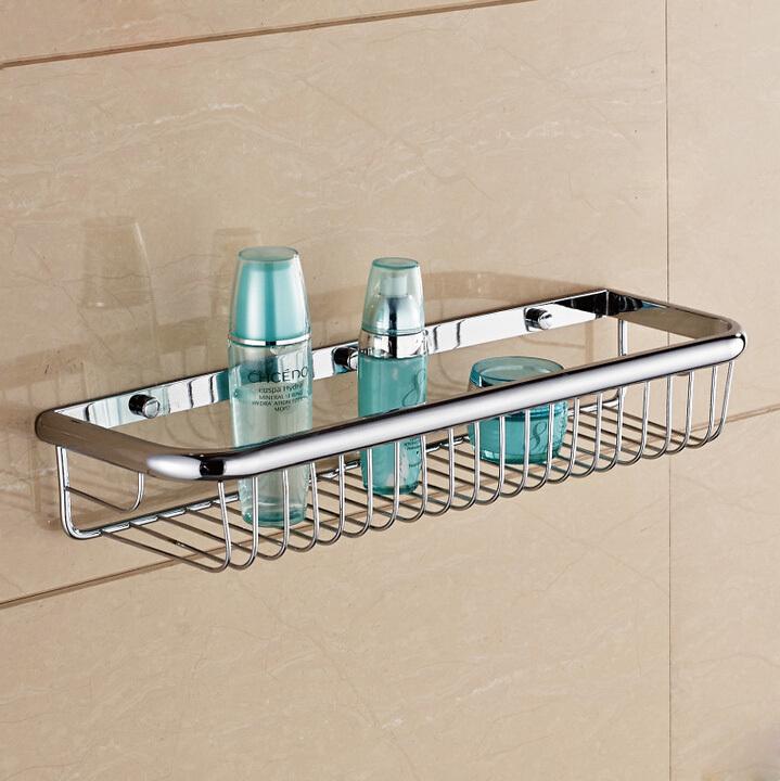 Wall Mounted Bathroom Shelf Copper Chrome Single Layer
