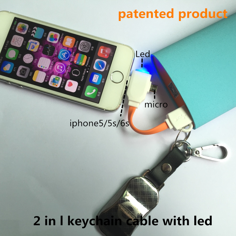 Car Charge keychain micro+I5 usb cable with LED 2 in 1,charging cable,mobile cases, Factory direct sales,patented product(China (Mainland))