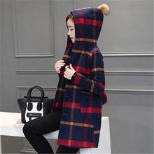 New Autumn Winter 2016 Women Fashion Elegant Woolen Hooded Jacket Plaid Loose Big yards England Medium length Woolen Coat G0399
