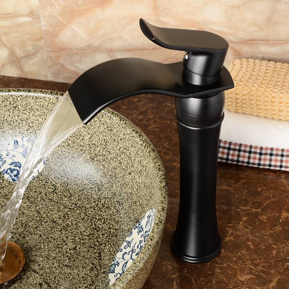 Black Bathroom Mixer Faucet Boutique Wash Basin Faucet All Copper Waterfall Faucet Cold Hot