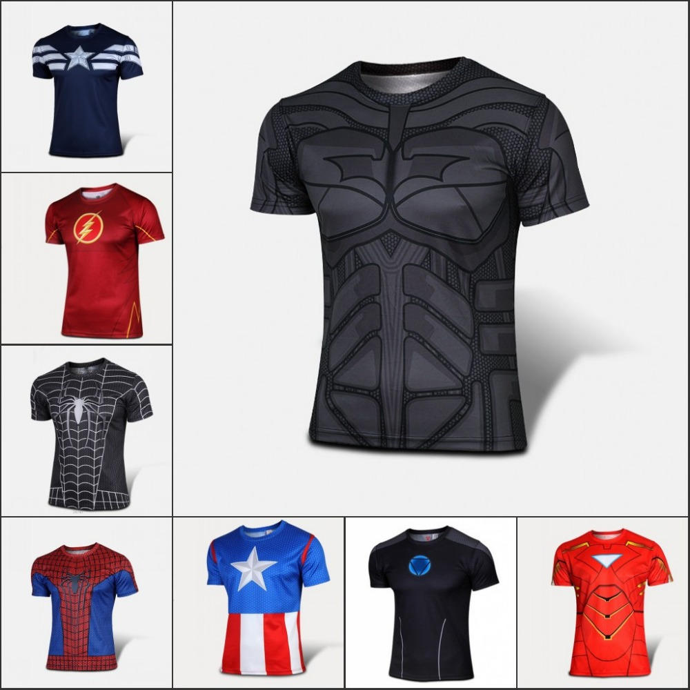 2016 Marvel Superhero Avenger Captain America sport T shirt Men Armour Base Short Sleeve Under Top Sport Fitness tshirt homme(China (Mainland))