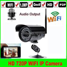 Wireless 720p 1MP onvif wifi audio outdoor home security IR p2p 3.6mm lens IP camera Audio output 1280*720P