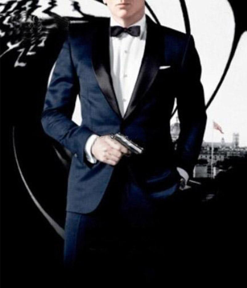 Custom Made to Measure Tailored men's BESPOKE suit dark blue men wedding suit double collar men tuxedo(Jacket+Pants+Tie+Pocket )