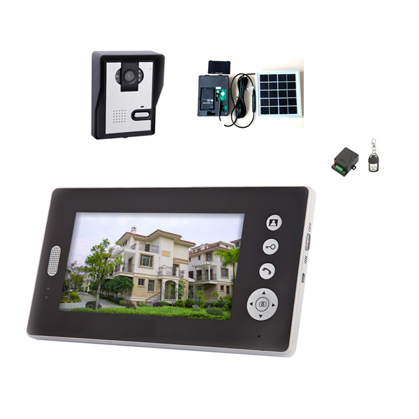 50% shipping fee 1 pieces Newest Solar power charger Wireless 7inch photo-memory video intercom door phone system(China (Mainland))