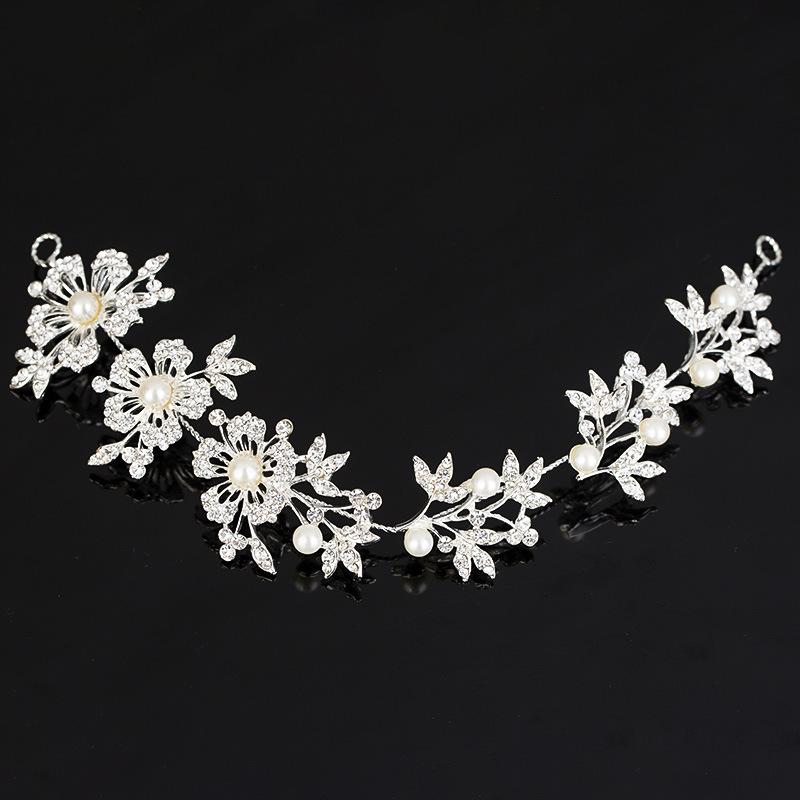 Korean red long style pearl flowers crystal rhinestone comb tiara bridal crown wedding hair accessories(China (Mainland))