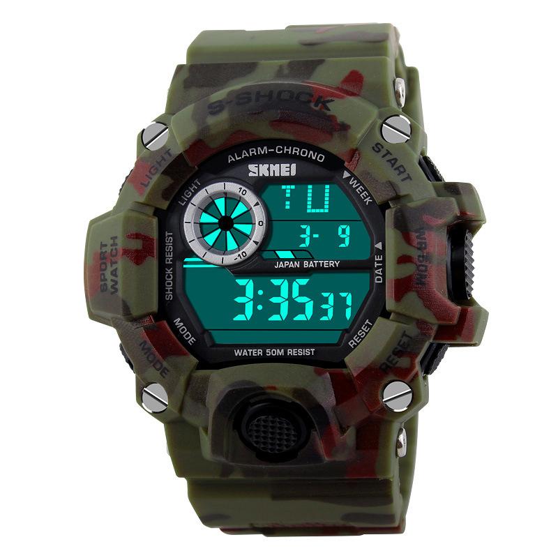 Brand new SKMEI 1019 G Army Camouflage military watch reloj led digital sports watches relogio masculino esportivo shock clock(China (Mainland))