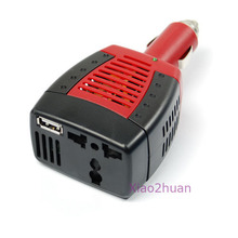 J34 Free Shipping Car DC 12V to AC 220V 75W Power Inverter Adapter USB 5V(China (Mainland))