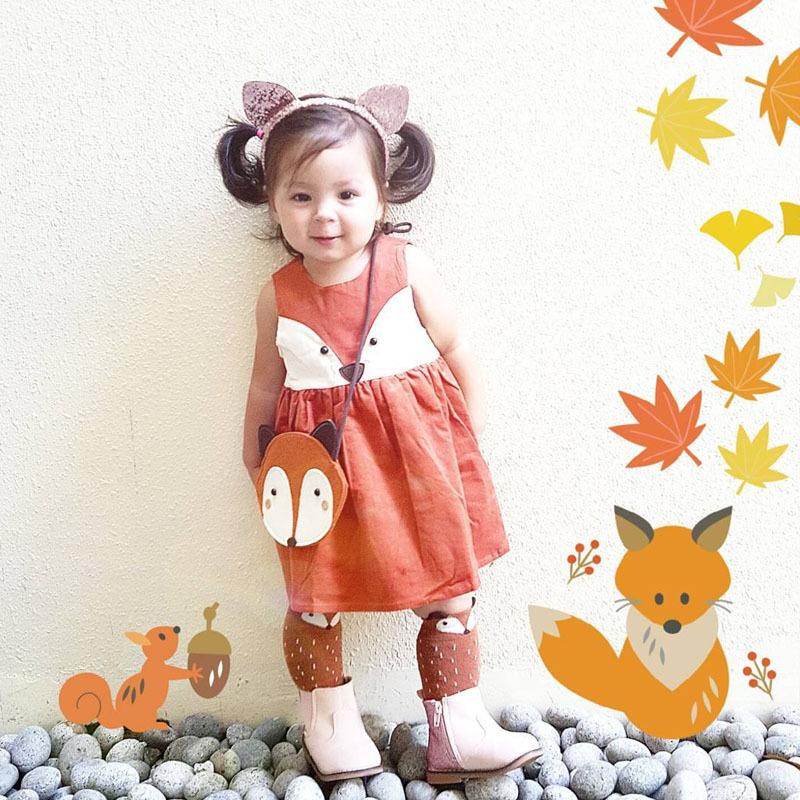 2016 Retailer Spring Summer Sweet Toddler Baby Girls Fox Style Cotton Dress Ruffles Casual Fashion Dresses Orange Easter Dress(China (Mainland))