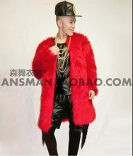 S-5XL 2015 nightclub Men singer DJ right DS Zhi-Long red In the long section of imitation fur leather coat. Costumes Customized(China (Mainland))