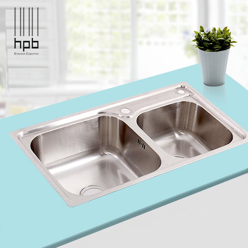 Hpb high quality 304 stainless steel fregadero double bowl for High quality kitchen sinks