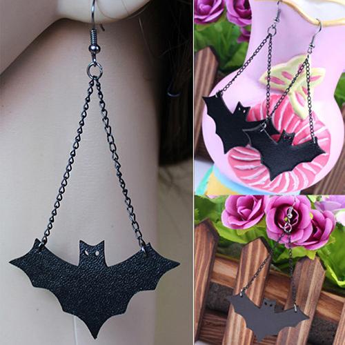 Womens Girls Retro Fashion Black PU Leather Bat Hook Earrings Halloween Gift A7V9(China (Mainland))