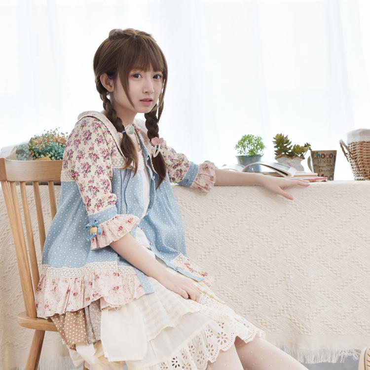 Princess sweet lolita coat  The new spring  Japanese female doll collar Sen sweet floral princess sleeve jacket WT2385 Одежда и ак�е��уары<br><br><br>Aliexpress