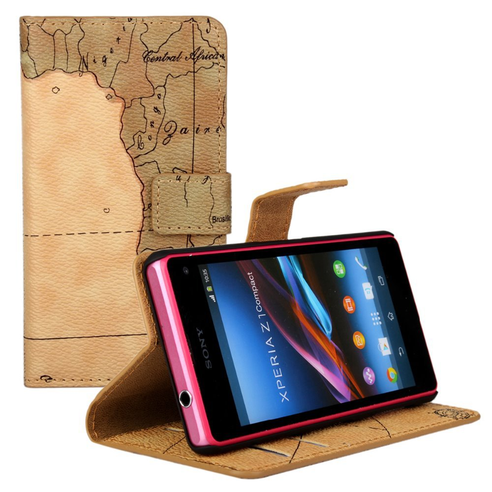 Luxury World Map Wallet Cover PU Flip Leather mobile Phone Bags Protective Cases Stand For Sony Xperia Z1 Compact Z1 mini D5503(China (Mainland))