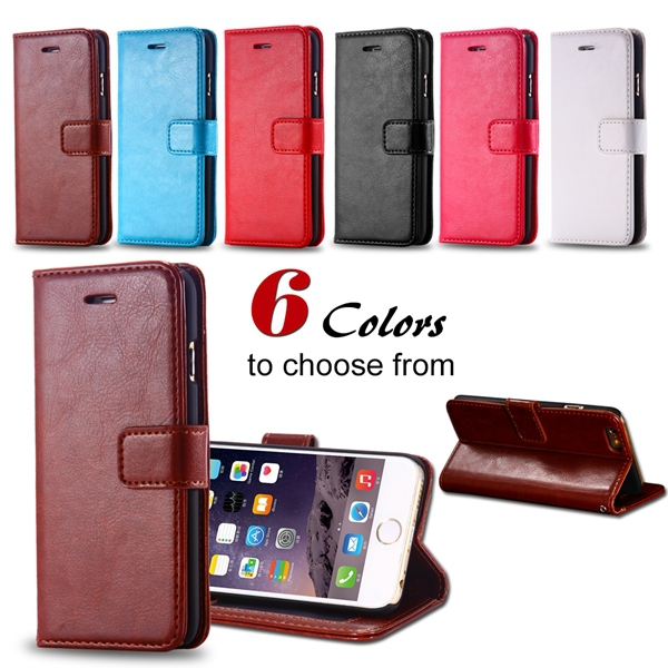 I6 Wallet Book Case Crazy Horse PU Leather Cover For Iphone 6 4.7inch Flip Bag With Photo Frame & Hand Strap Luxury Full Case(China (Mainland))