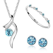 Silver Plated Austrian Crystal Wedding Jewelry Sets