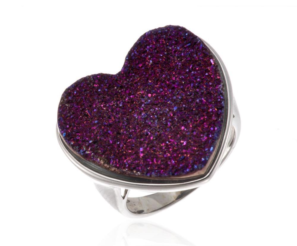 Purple Druzy Agate Solid 925 Sterling Silver Heart Rings Fine Jewelry For Women<br><br>Aliexpress