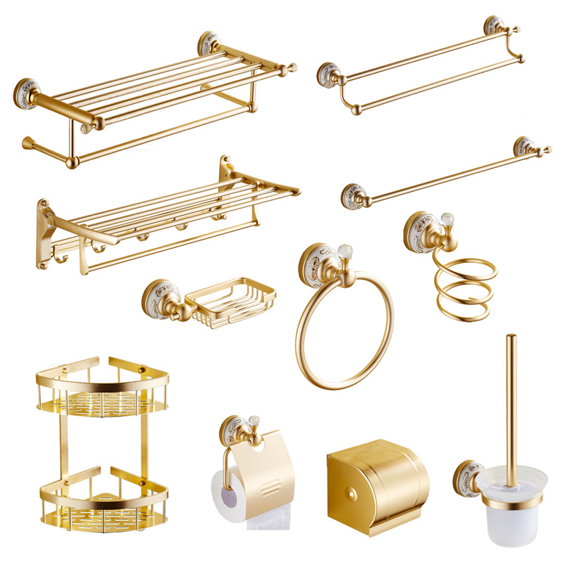Aluminum alloy bathroom accessories gold finish toilet for Gold bathroom accessories sets