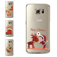 Free Shipping Phone Cases For Samsung Galaxy S6 Painted Cute Reindeer Clear Soft Ultra Thin Back Case Cover