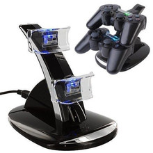 Black Quick Dual Charger Charging Dock Stand + USB Cable For Sony PlayStation 3 For PS3 Controller Console Free Shipping(China (Mainland))