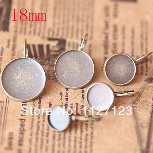 Free ship! Antique bronze 200piece 18mm Round Cabochon Setting Leverback Hook Stud Earing blanks and base trays bezel