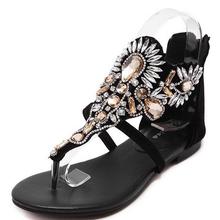 2016 Woman Summer Romo Low-Heeled Sandals Ladies Beading Flower Crystal Jewel Flip Flops Shoes Zapatos Mujer Sandalias