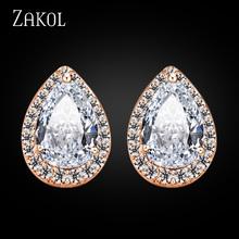 ZAKOL New Arrival Rose Gold Plated Hear Shape Stud Earrings Clear Cubic Zircon Imitated Diamond Fashion Women Jewelry FSEP001(China (Mainland))