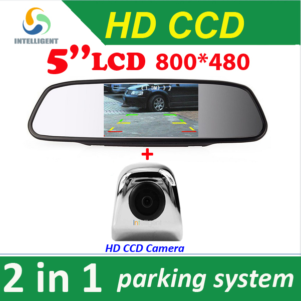 "Гаджет  2 in 1 HD CCD rear view Camera + 5"" HD Digital Car Mirror Monitor , rear view mirror CCD car parking camera None Автомобили и Мотоциклы"