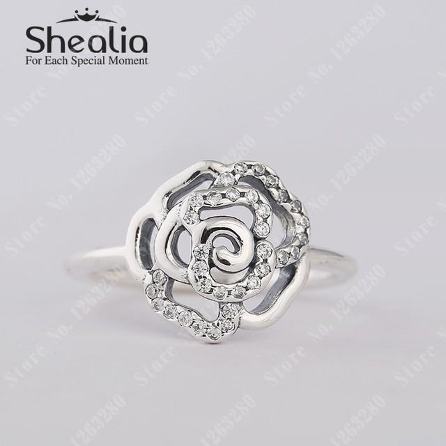Роза кольца с прозрачный CZ вымостите цветы кольцо для женщины 925 чистое серебро помолвка кольцо модное Shealia ювелирные изделия