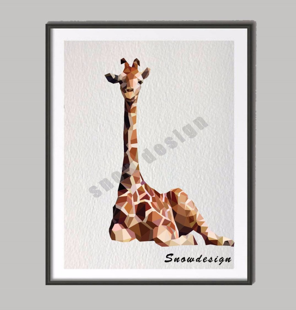 Modern Geometric Giraffe Canvas painting wall Art Poster Print Pictures living room Home Decor wall hanging sticker gifts(China (Mainland))