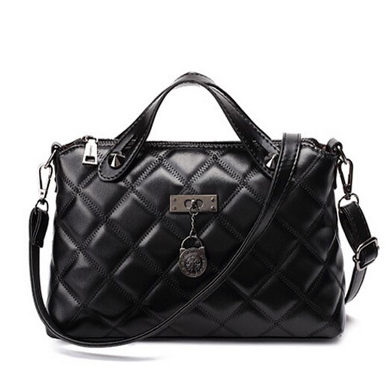Quilted Bag Women Handbag Sheep Genuine Leather Women Messenger Bags Black Tote Bag Small Simple Bolsos feminina sac a main(China (Mainland))