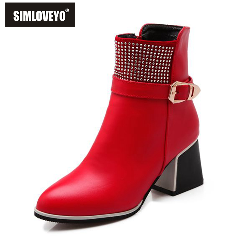 Fashion Women Boots High Heel Zip Ladies High Heel Boots Warm Leather Ankle Winter Boots For Women Shoes Black White Red(China (Mainland))