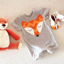 Summer 2016 Newborn Baby Boys Girls Cute Fox Romper Outfits Clothes 0-24M Cotton