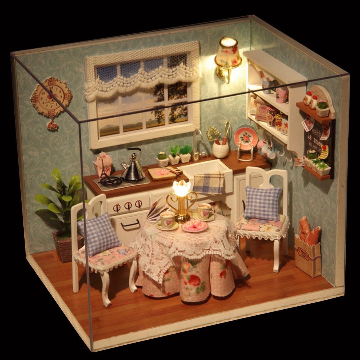 DIY Wooden Doll House Toys Dollhouse Miniature Box Kit With Cover And LED Furnitures Handcraft Miniature Dollhouse Kitchen Model(China (Mainland))