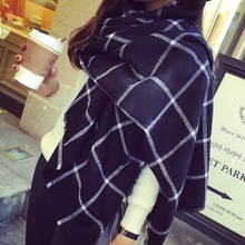 New Lady Women black white Plaid Cozy Checked Tartan Scarves Wraps shawl