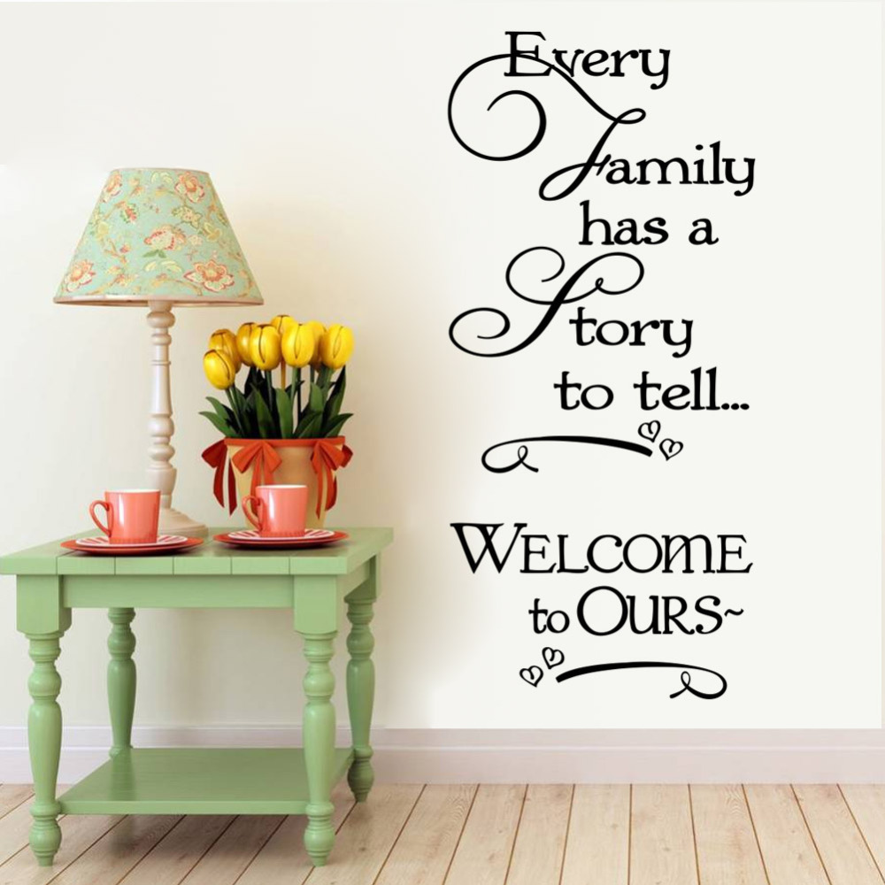 Welcome to our home family quote wall decals decorative removable heart vinyl wall stickers home - Decorative wall sticker ...