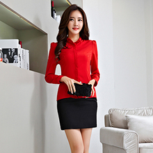 New Arrival 2016 Summer Women Long Sleeve Chiffon Blouses Korean Style women Shirt White Blue Tops(China (Mainland))