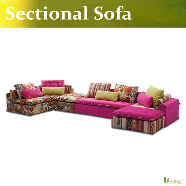 U-BEST Modern Pink Fabric Sofa Couch Sectional Set Living Room Furniture,Sectional Sofa Couch Ottoman Chaise(China (Mainland))