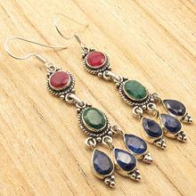 Rubi, emrald & sappfire Coloré Boucles D'oreilles LONGUES 6.8 CM! argent Plaqué Bijoux(China (Mainland))