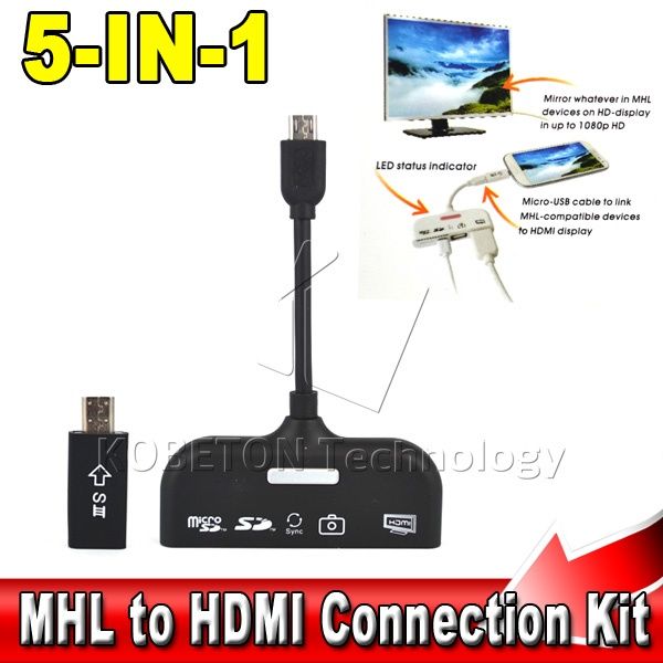 5 in 1 Micro USB MHL to HDMI HDTV Adapter Connection Kit+TF/SD Card Reader+OTG Data Cable for Samsung S3/S4 Note 2/3 SONY LG(China (Mainland))