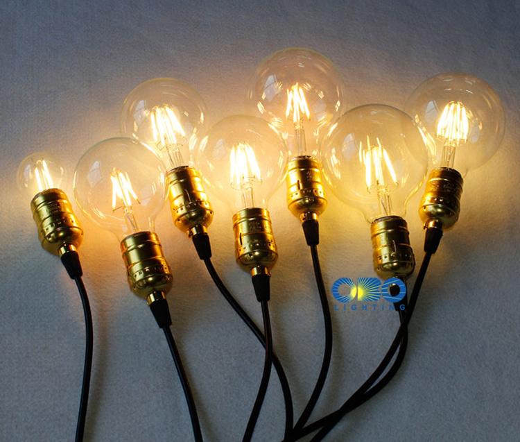 Edison LED Bulbs G80/G95/G125 E27 Lamp Holder 110-240V Warm White Vintage Decoration Shop Energy Saving Bulb Free Shipping