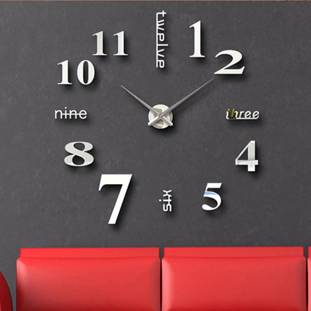 large wall clock mirror clocKs Fashion Watches 3d Real Big Wall Clock Rushed Mirror Sticker Diy Living Room Decor Free Shipping(China (Mainland))
