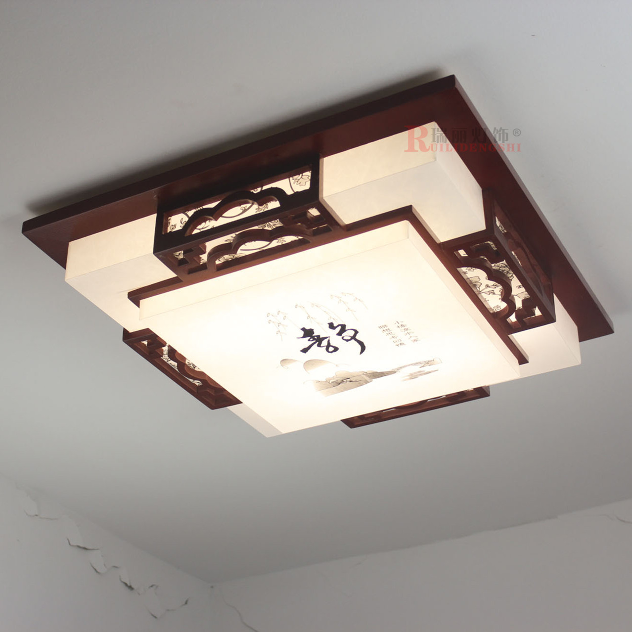 Chinese style modern Brief solid wood square ceiling light energy saving sheep skin ceiling lamp living bedroom light AC85-265V(China (Mainland))