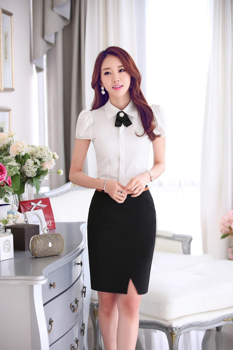 Beautiful V Neck Flare Sleeve Blouse Skirt Set  AZBRO