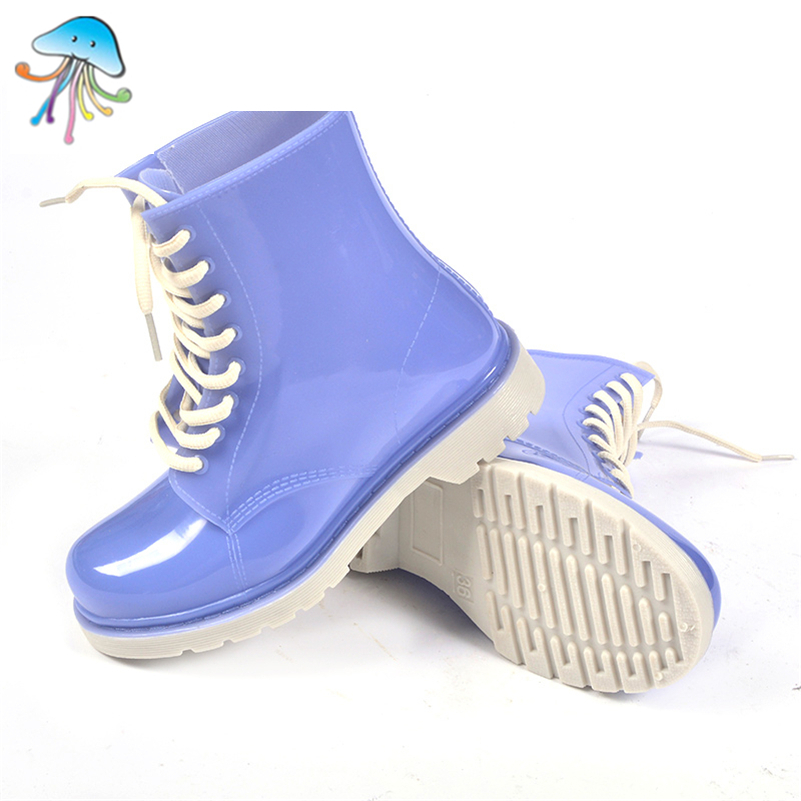 Durable Non Slip Lace-Up Women's Short Martin Rain Boots Flat Heel Soft Walking Waterproof Rain Shoes for Lady Any Climate(China (Mainland))