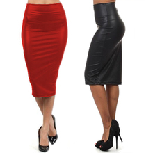 2016 Autumn Winter Female Casual High Waisted Skirt Black Red Sexy Faux Leather Pencil Long Skirts Party Bar Club