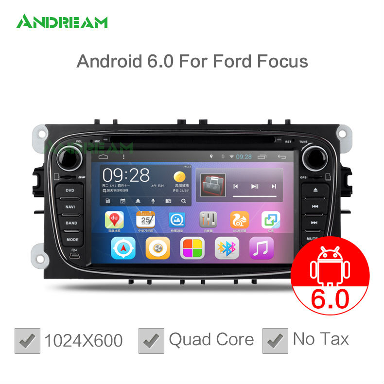 Android 6.0 Quad Core Car DVD Player Stereo For Ford Mondeo Focus S-max NO TAX BT WIFI 1024*600 gps navigation EW850PQH(China (Mainland))