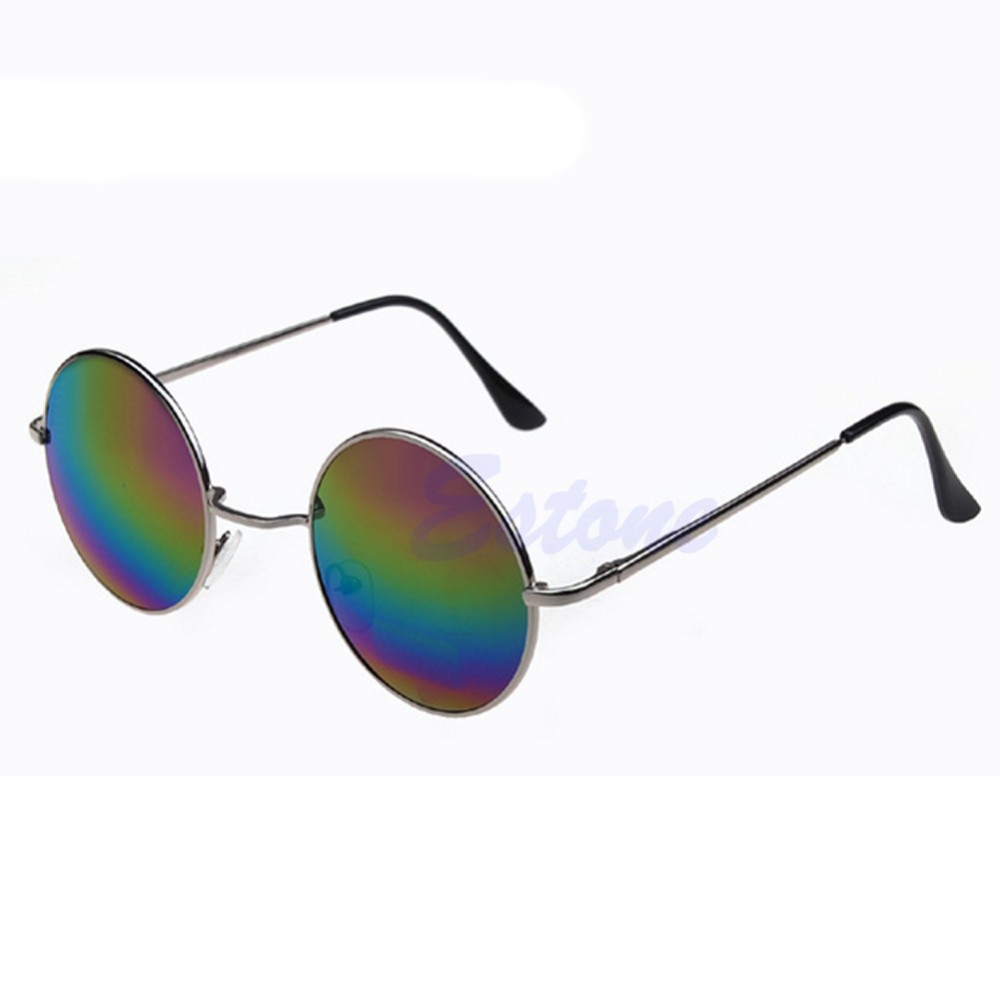 1 pc старинные мужчин женщин солнцезащитные очки хиппи ретро круглые металлические оправы очки очки