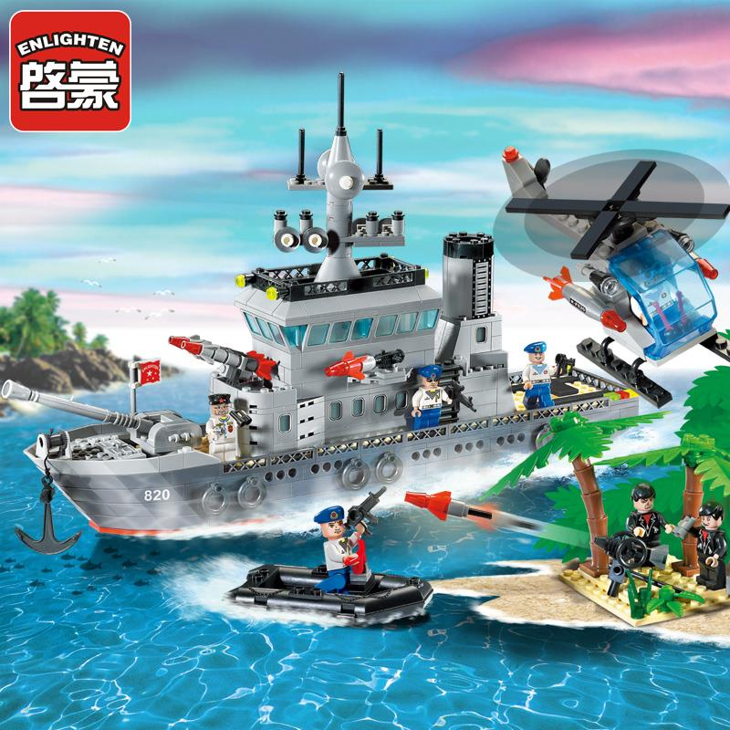 Enlighten Military Series Frigate Building Blocks set Bricks Construction Toys Children Gift 820 Juguetes
